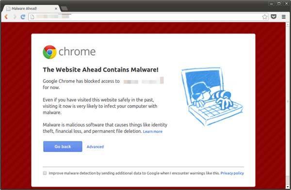 ตัวอย่างการแจ้งเตือนของ Google Chrome