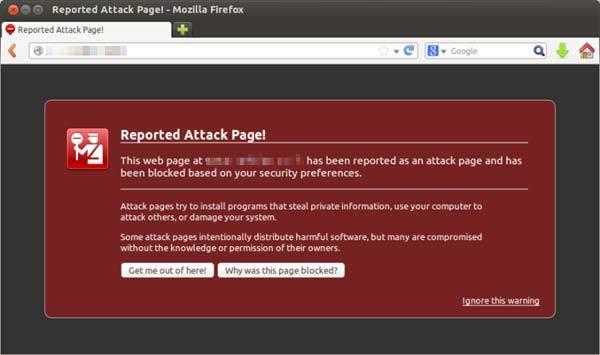 ตัวอย่างการแจ้งเตือนของ Mozilla Firefox
